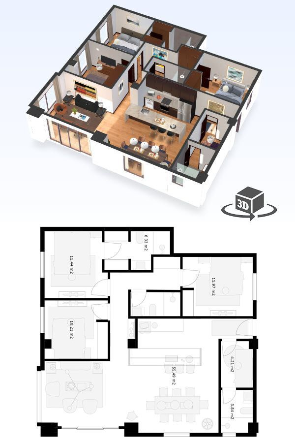 3 Bedroom Apartment Floor Plan In Interactive 3d Get Your Own 3d Model Today At Http Planto3d Com Condo Floor Plans Small Apartment Floor Plans Floor Plans