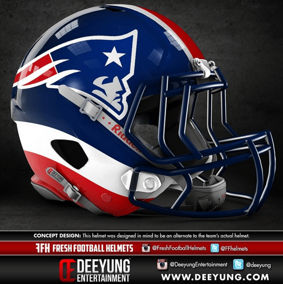All 32 Nfl Team Helmets Were Given A More Modern Redesign And The Results Are Awesome Nfl Football Helmets Football Helmets New England Patriots