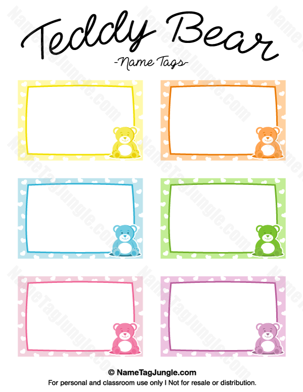 Free printable teddy bear name tags the template can also for Name the bear template