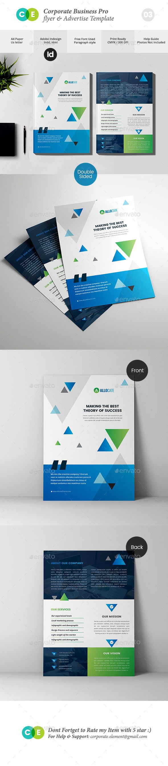 Corporate Business Pro Double Sided Flyer Template InDesign INDD