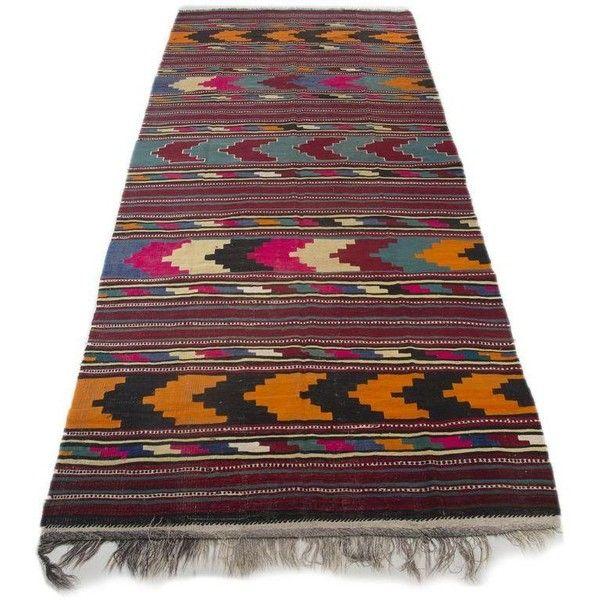 "Turkish Kilim Flat-Weave Runner Rug - 6'2"" x 14' ($1,100) ❤ liked on Polyvore featuring home, rugs, turkish kilim rugs, flatweave rugs, wool kilim rug, turkish area rugs and turkish runner"
