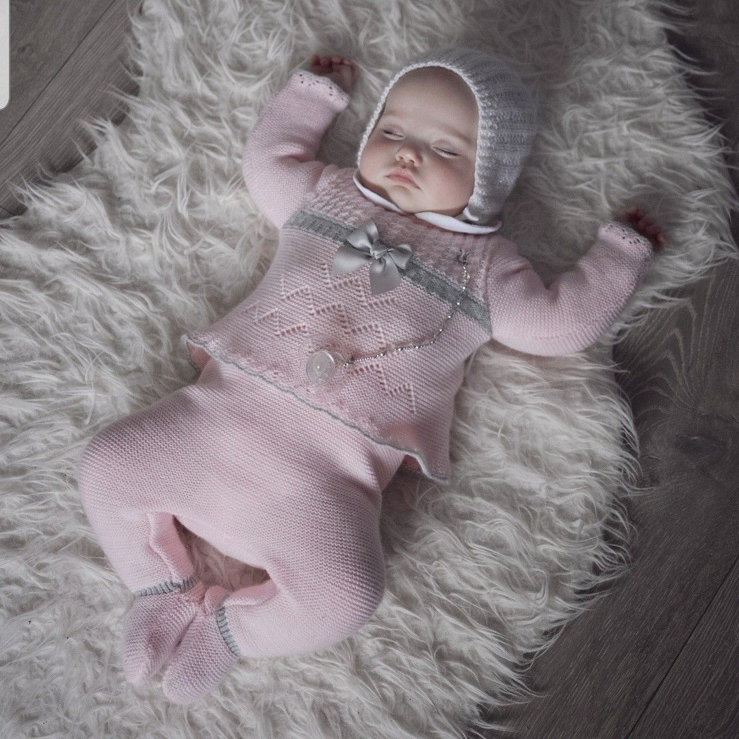 Baby knitted sleepsuit babygro romper Spanish style TEDDY grey