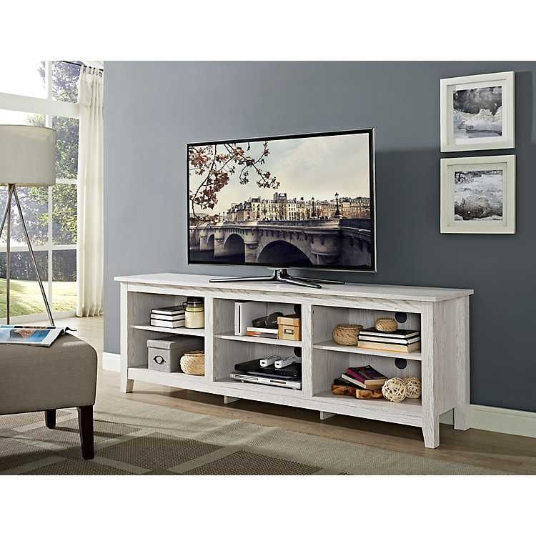 Whitewashed Wood Media Console 70 In Wood Media Console Tv