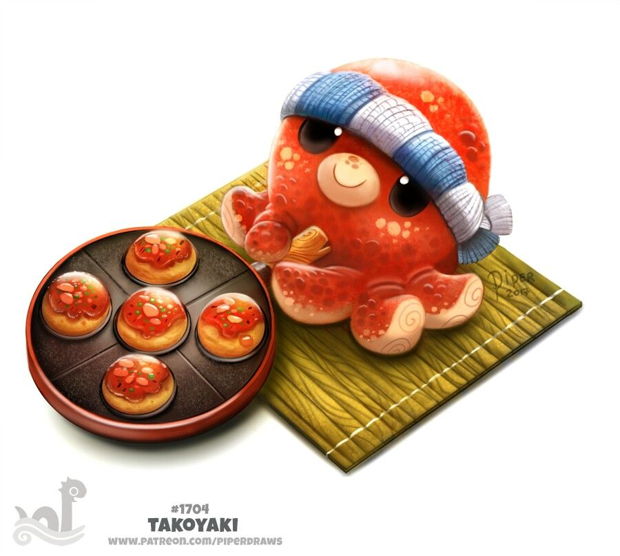 Daily Paint 1704 Takoyaki With Images Animal Drawings Cute