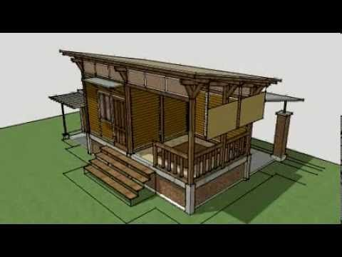 Sketchup Design Minimalis Rumah Paviliun Konstruksi Kayu 3x6 M2 3d Model Made W Sketchup Youtube Rumah Kayu Paviliun Minimalis
