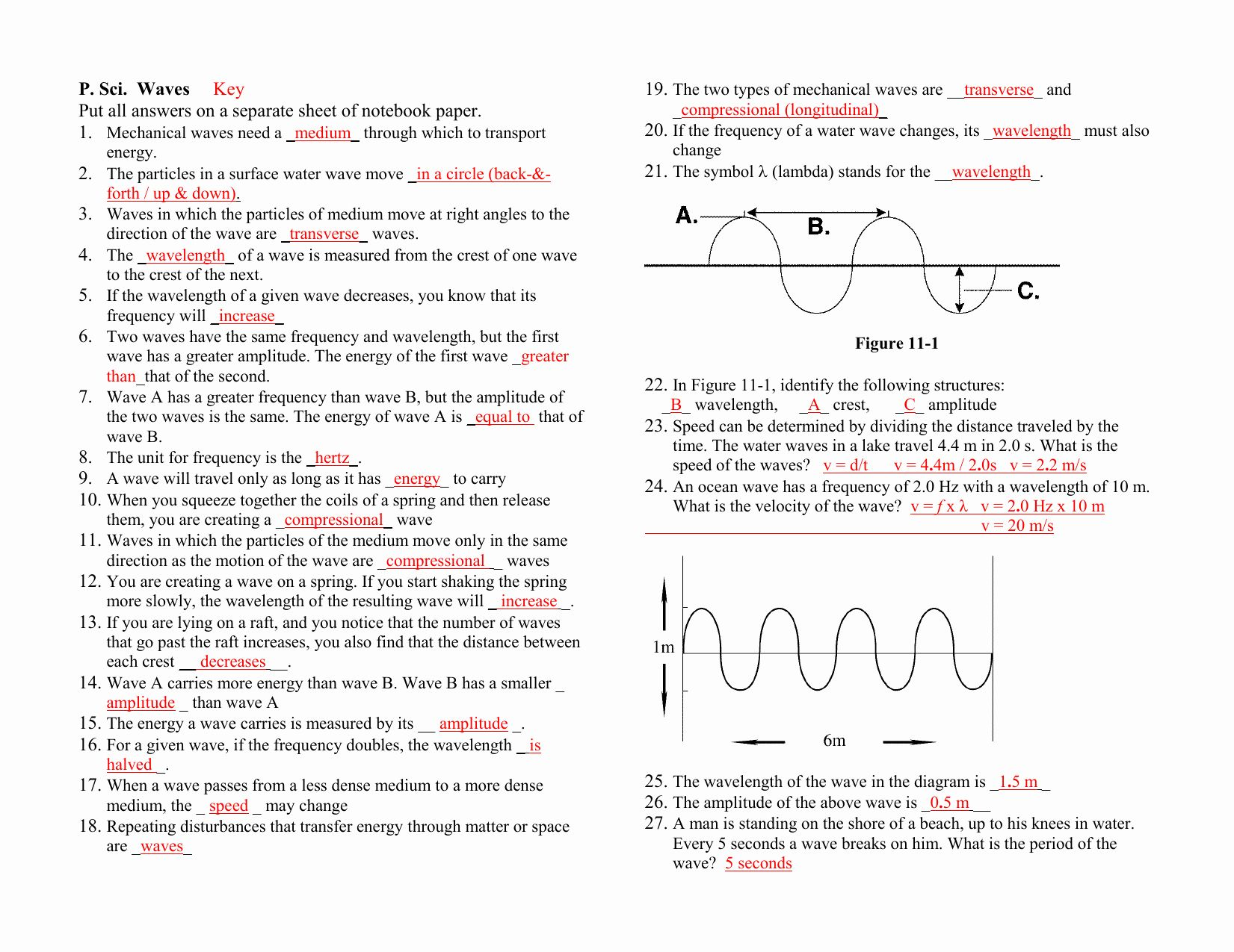 Waves Worksheet Answer Key Awesome Waves Study Guide Key