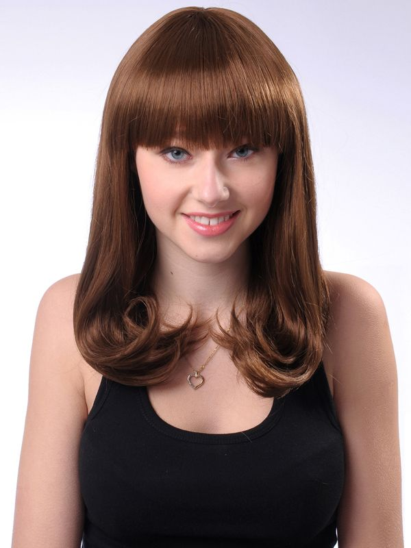 Popular 16 Inch Capless Wavy Chocolate Cheap Synthetic Hair Long Wig