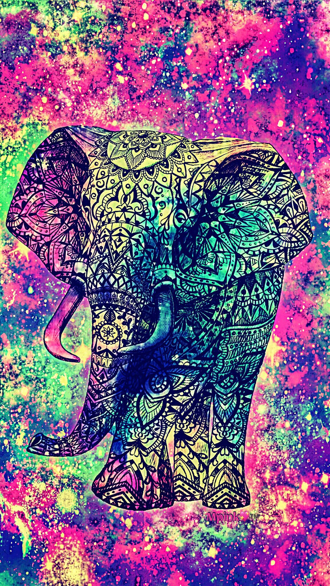 Vintage elephant galaxy wallpaper androidwallpaper - Elephant background iphone ...