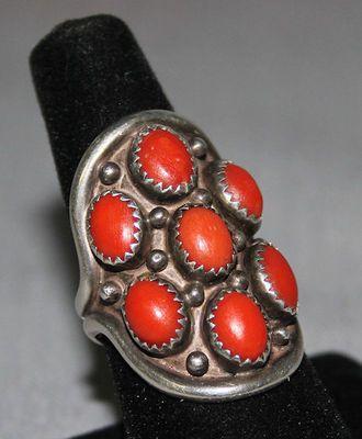 $285 Saddle Design Silver and Natural Coral Ring by Davis & Celia Nieto