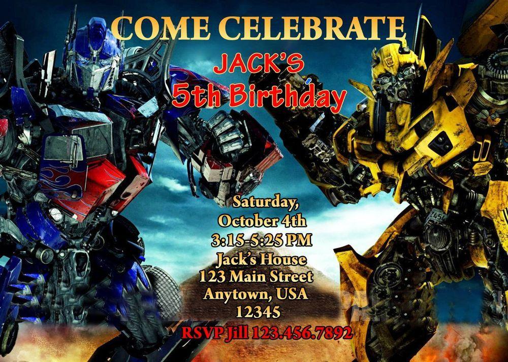 Transformer Birthday Invitation Party Supplies Transformer Cars Birt Transformer Birthday Transformers Birthday Parties Free Printable Birthday Invitations