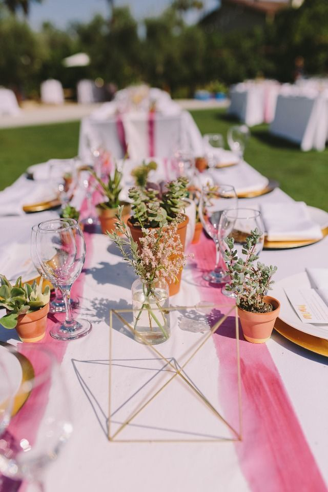 Warm and sunny do it yourself wedding at colony 29 in palm springs modern watercolor and desert themed wedding table decor junglespirit Choice Image
