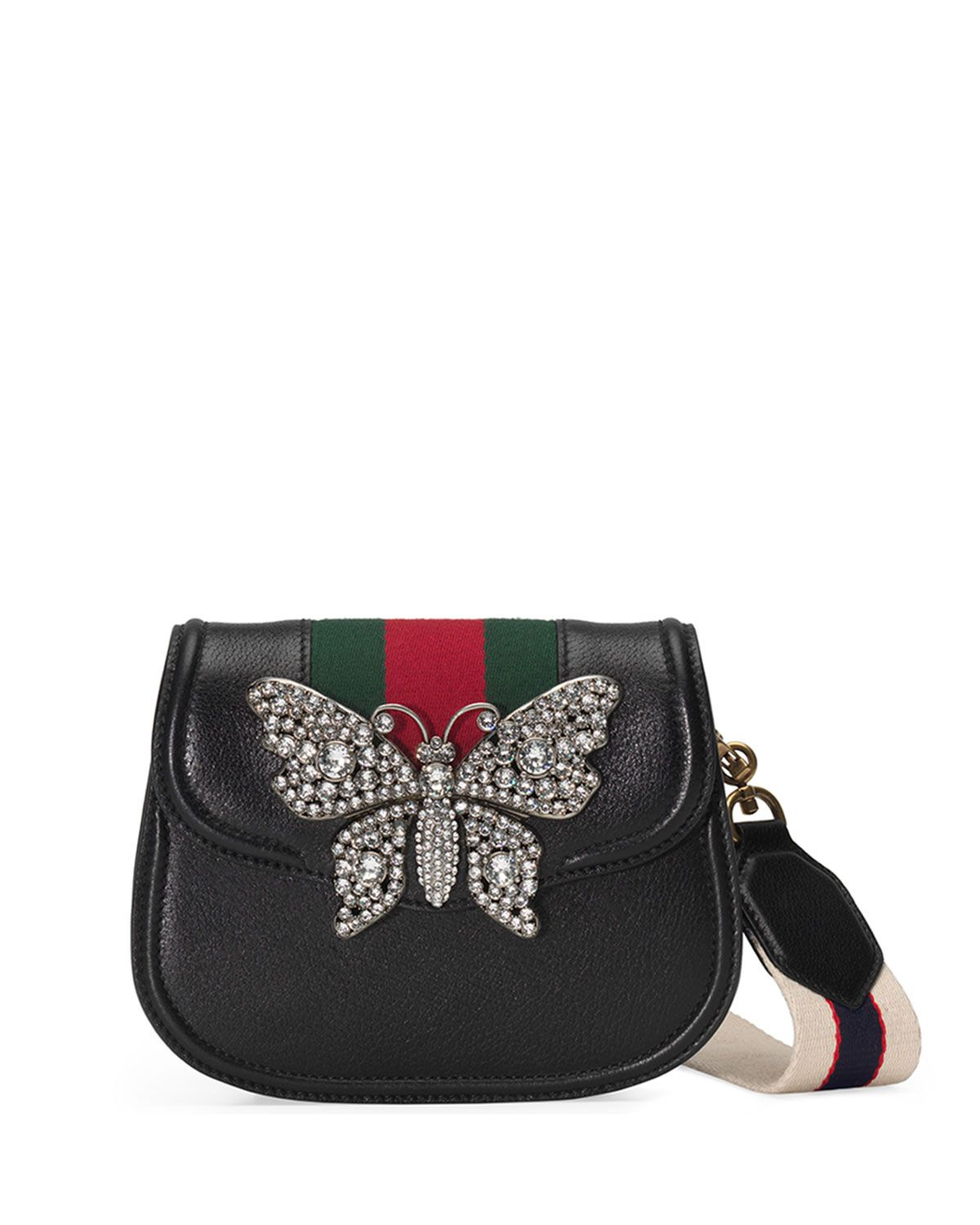 d18573ac8 Gucci Linea Totem Small Leather Shoulder Bag with Crystal Butterfly & Web  Strap