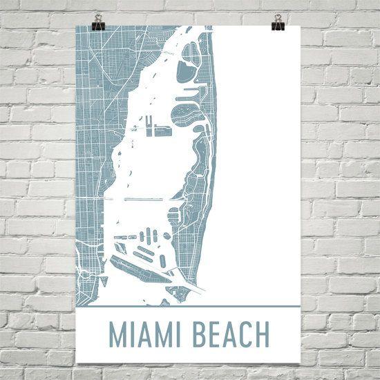 miami beach map, south beach art, south beach print, miami