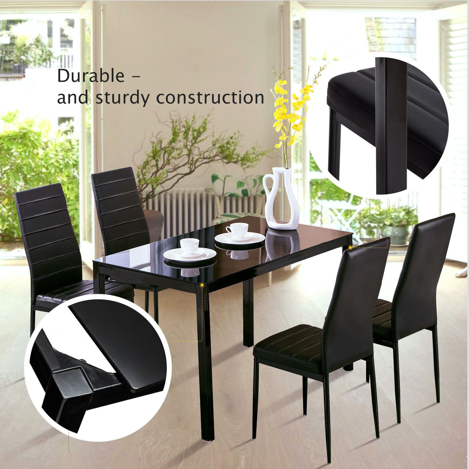 5 Piece Dining Table Set 4 Chairs Glass Metal Kitchen Room Breakfast Furniture Dining Table Setting Dinning Room Tables Table