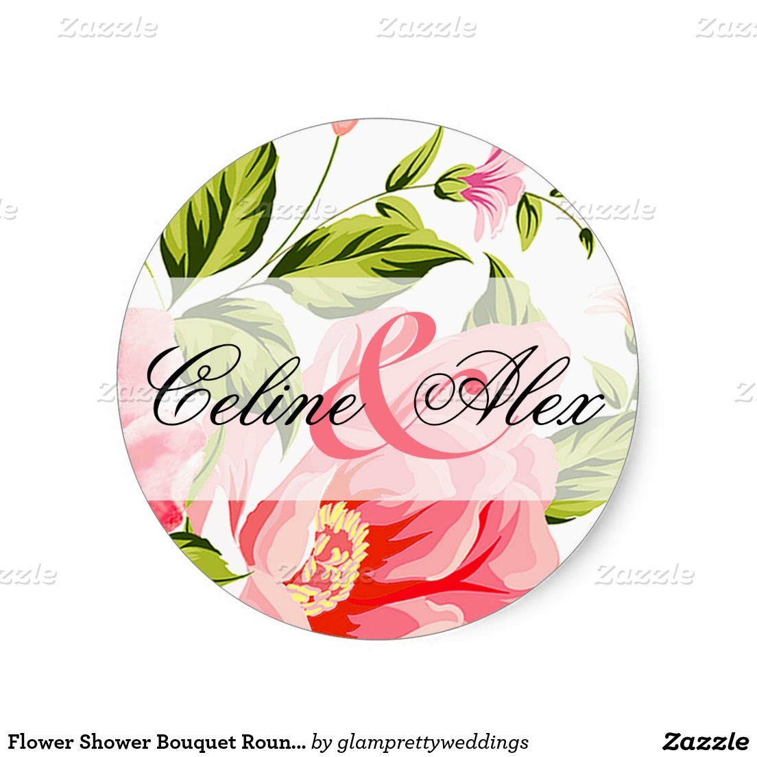 Flower shower bouquet round favor baby pink classic round sticker