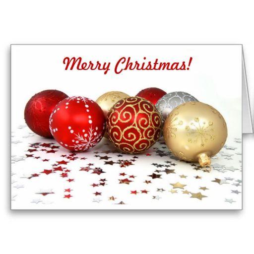 Fancy Christmas Ball Ornaments With Shiny Stars Holiday Card Zazzle Com Christmas Powerpoint Template Free Christmas Christmas Balls