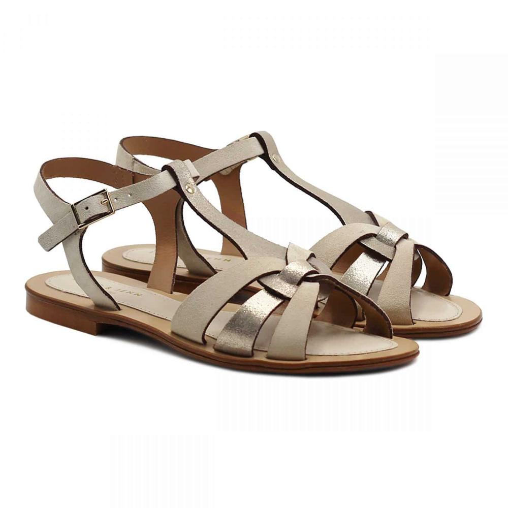 Sandales plates cuir marron | JULES & JENN
