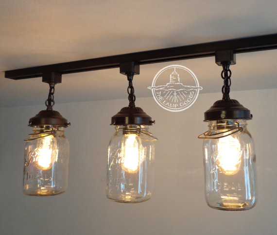 Mason Jar Track Lighting Fixture Trio With Vintage Quarts Chandelier Ceiling Pendant Light Flush Mount Kitchen Farmhouse Fan By Lamp Goods
