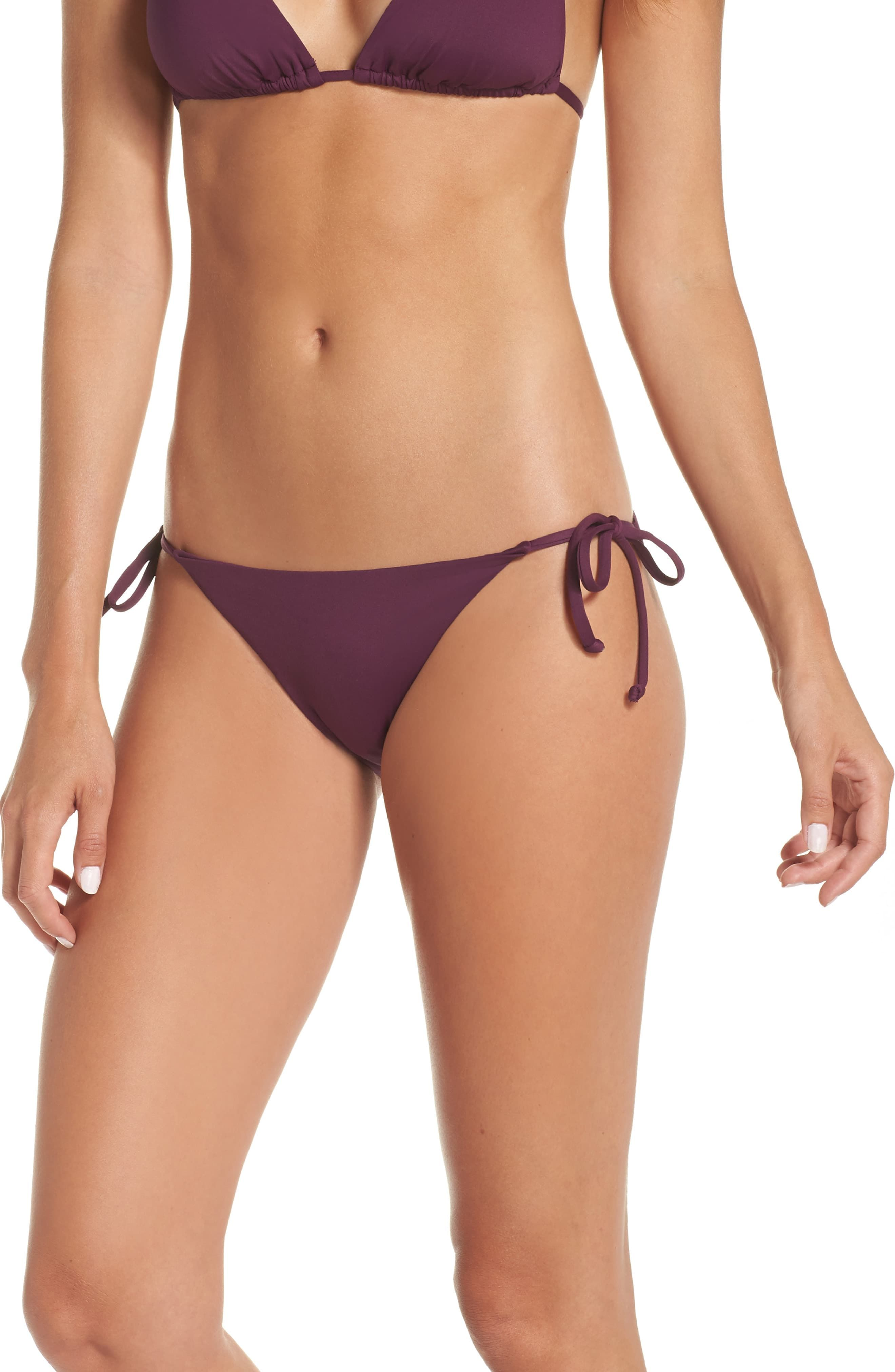 Out from Under Side Tie Scrunch Back Bikini Bottom in Burgundy
