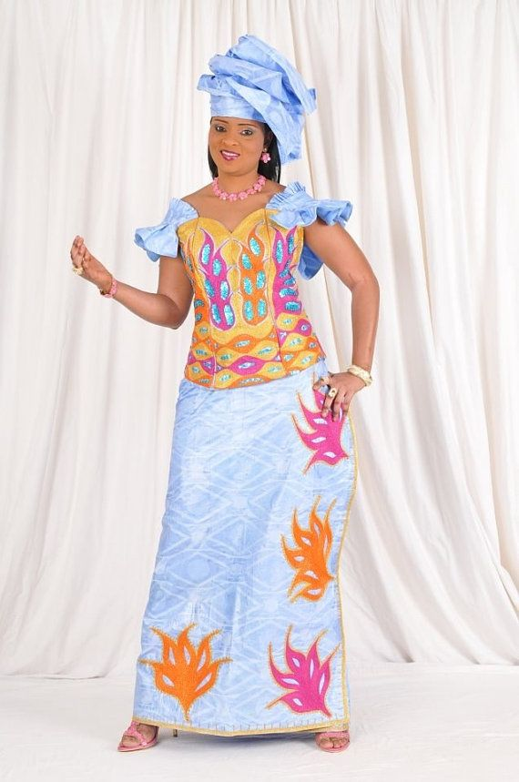 Sky Blue African Bazin With Colorful Embroidery African Fashion Style Nigerian Fashion And