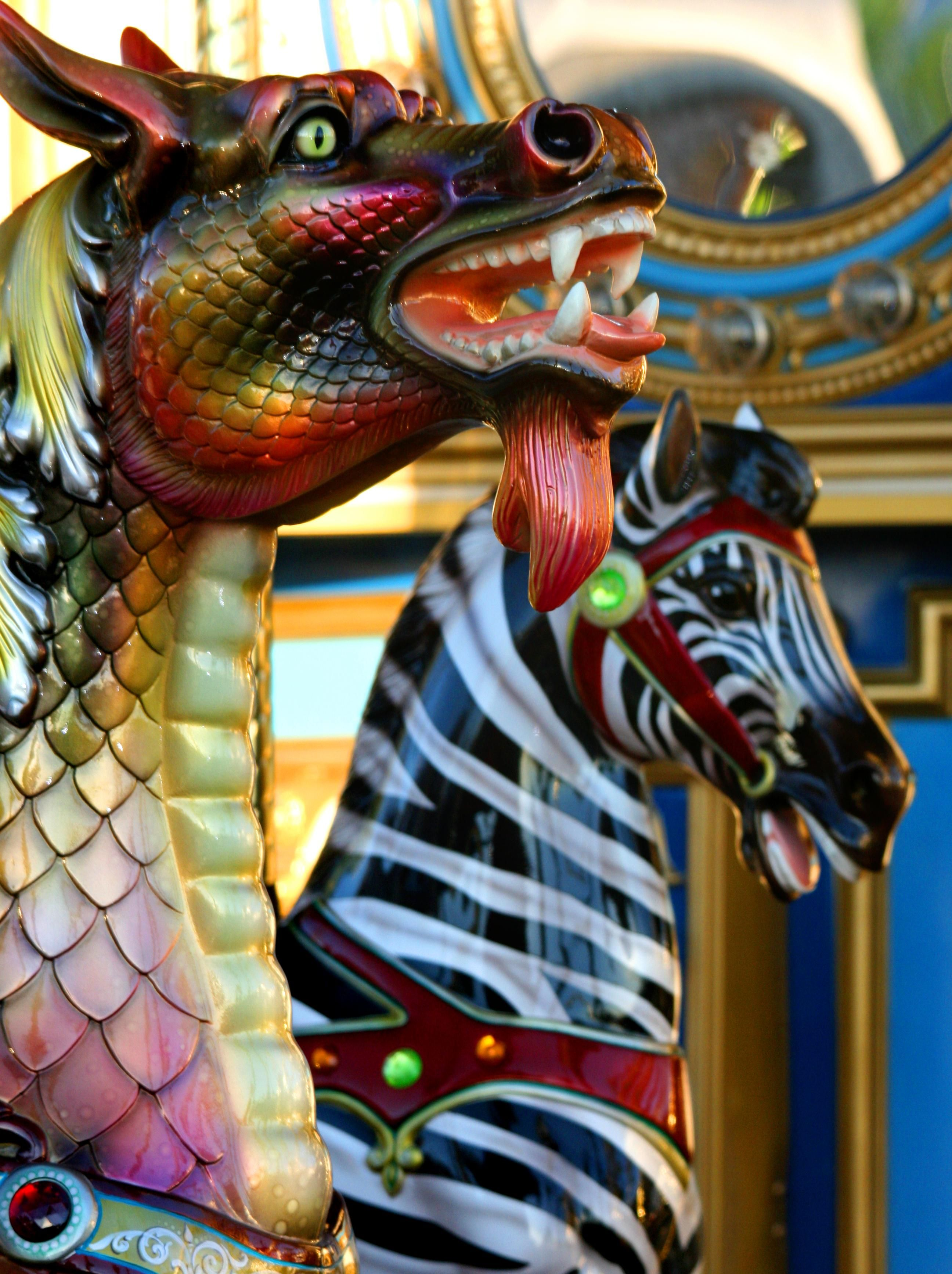 Unusual Combination On This Carousel. Dragon Meets Zebra..Saddle Up!
