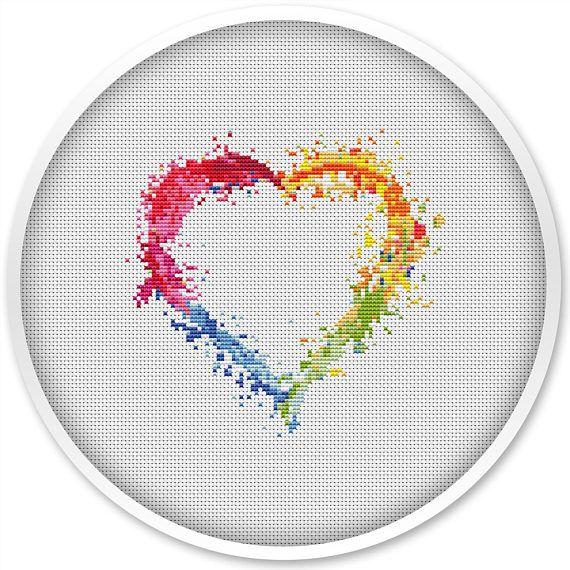 Heart Cross Stitch Pattern, Free shipping, Cross Stitch PDF ...