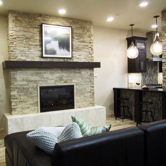 Contemporary Fireplace Tile In A Stacked Stone Look