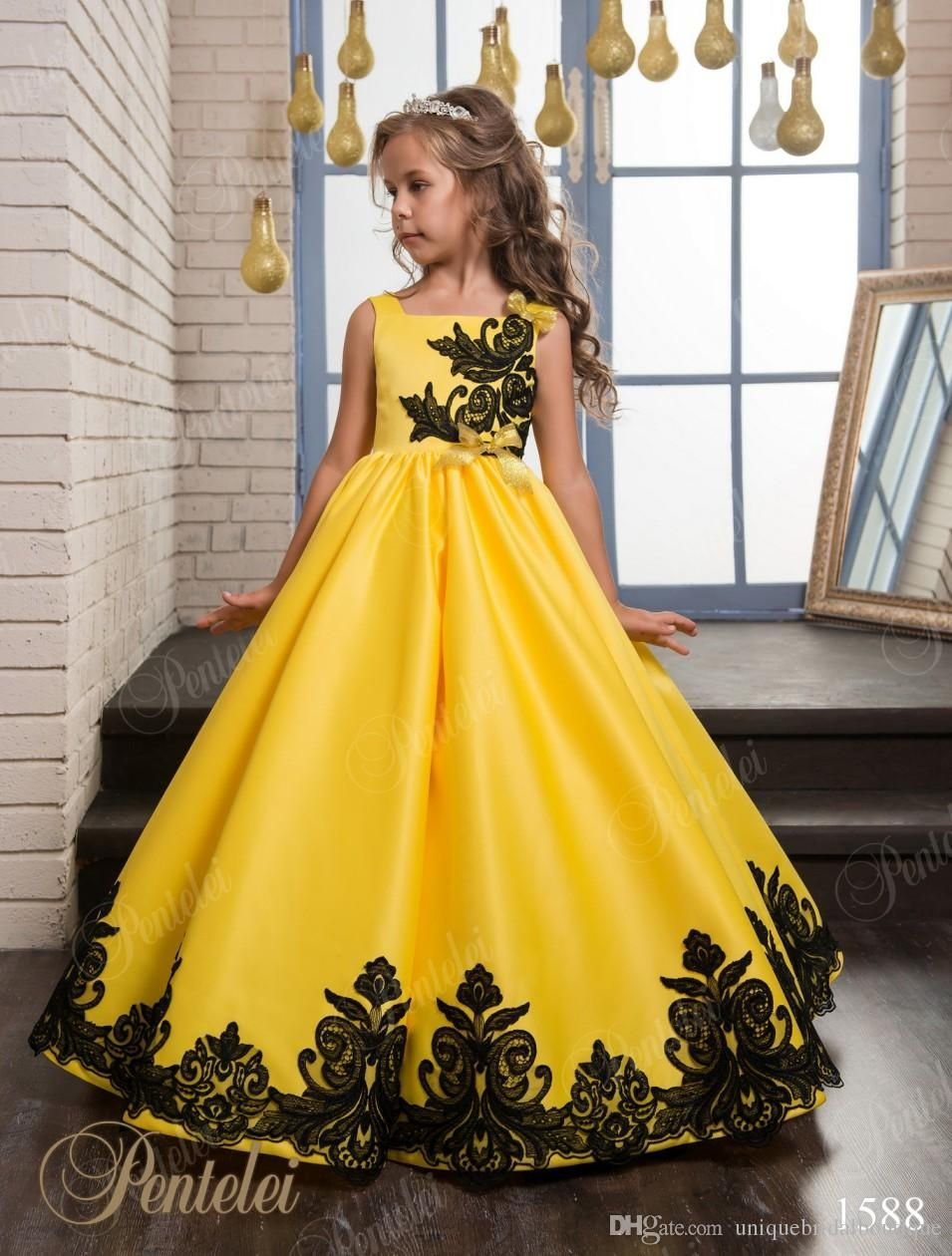 Girls christmas dresses for party yellow satin birthday party