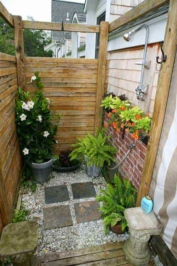 Outdoor Garden And Backyard Shower Space Enclosure Design Ideas