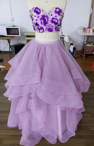 Gorgeous Two Piece Sweetheart Floor Length Lilac Organza Homecoming