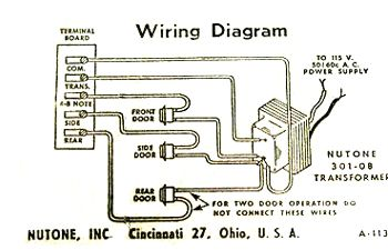 vintage diagram showing how to wire door chime to three buttons rh pinterest com Diagram for Wiring Two Doorbells One-Button Metal Clip to Wiring Doorbell Button