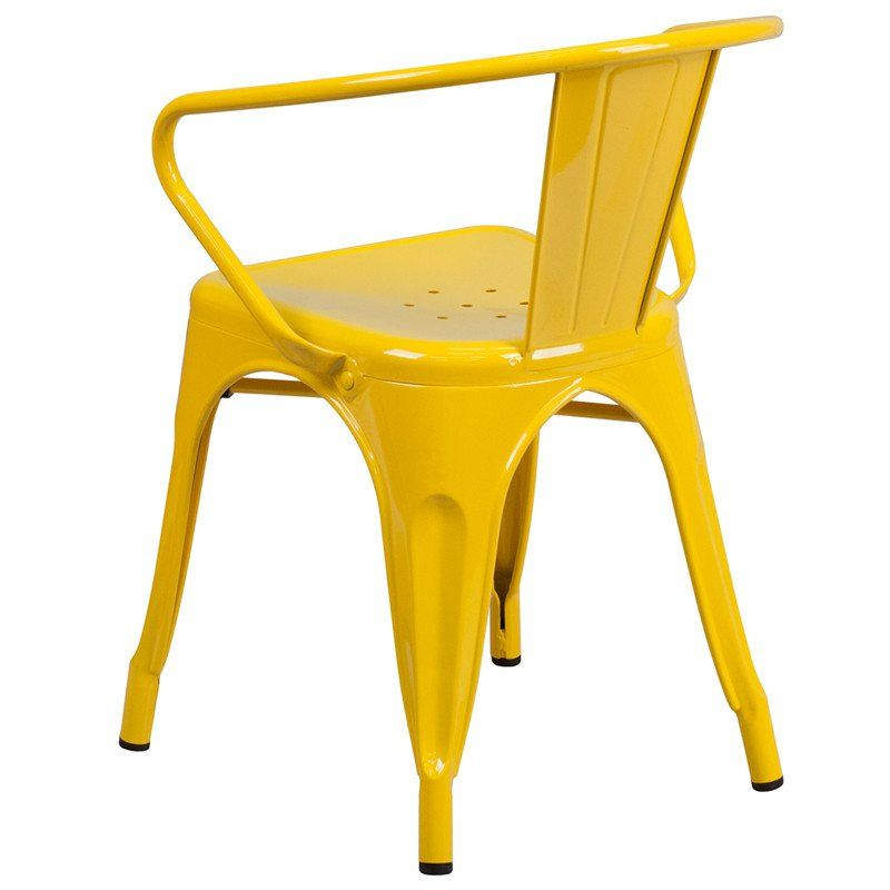 Tolix Style Yellow Metal Indoor Outdoor Chair With Arms