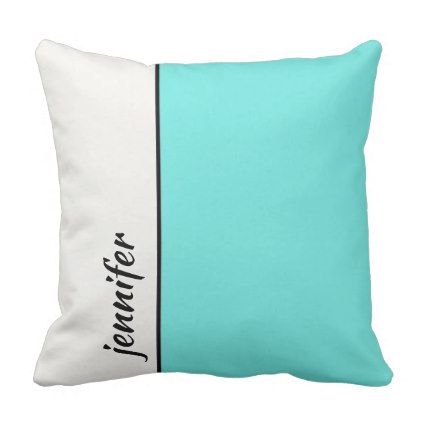 Turquoise and White Color Block with Your Name Throw Pillow