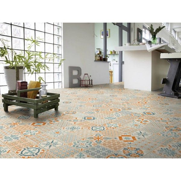 Tarkett starfloor click 30 retro orange blue carrelage for Dalles pvc clipsables gerflor