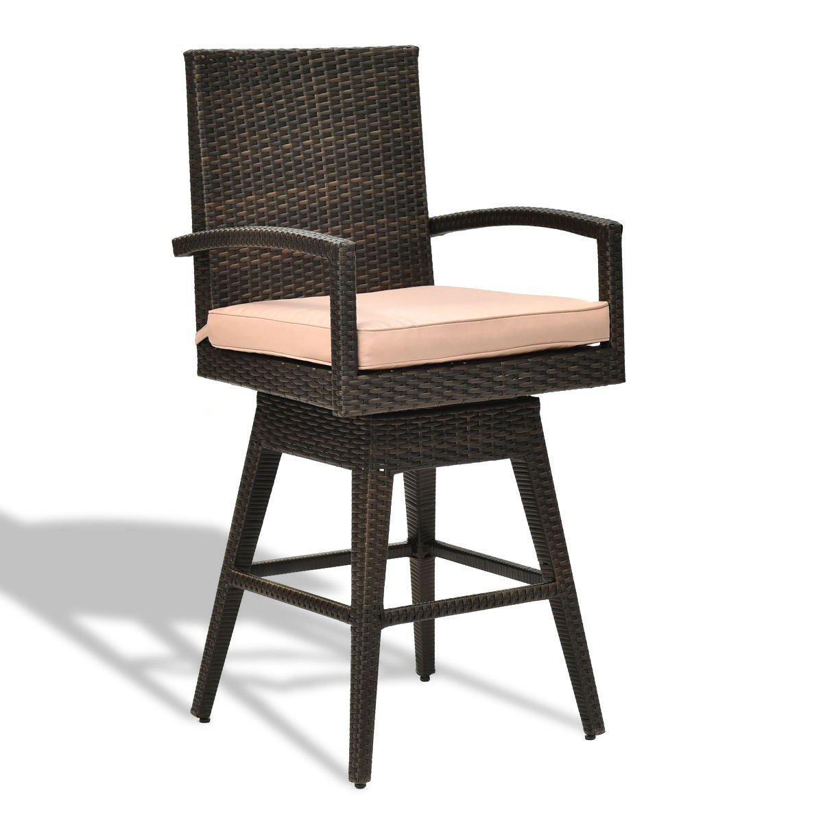 Outdoor Wicker Swivel Bar Stool Chair W