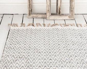Grey Gray Geometric Chevron Rug Handwoven Cotton The Isa