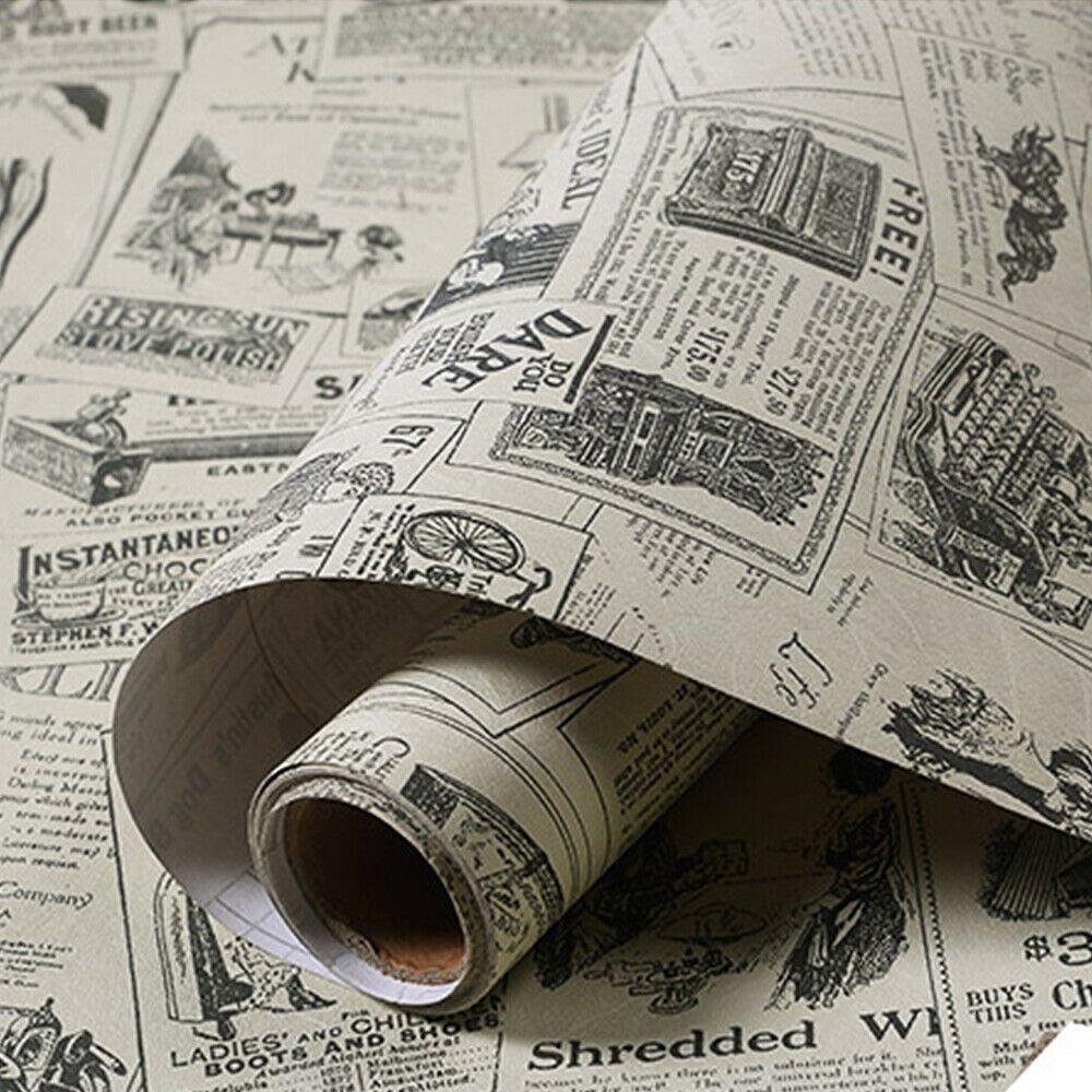 Vinyl Vintage Newspaper Wallpaper Sticker Self Adhesive Contact Paper Wall Decor Wallpaper Ideas Of Wa Newspaper Wallpaper Newspaper Wall Paper Wall Decor