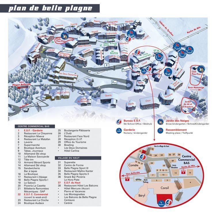 Belle Plagne map ESF Belle Plagne belle plagne Pinterest Belle