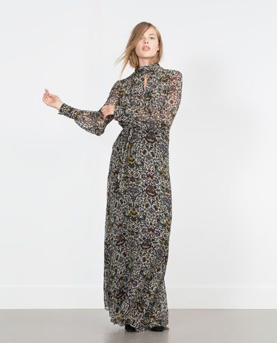 224488bf Image 1 of PRINTED LONG SLEEVE MAXI DRESS from Zara | Style ...