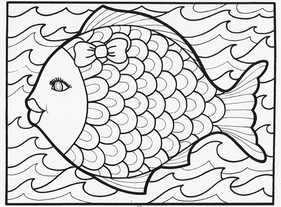 this fancy fish coloring book page is from our classic lets doodle book which is - Color In Pages