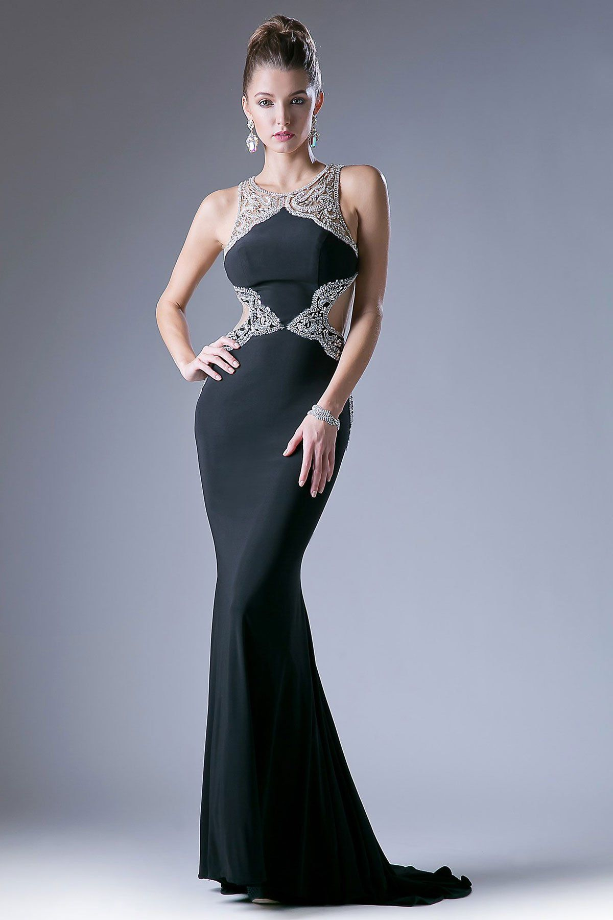 Evening gown cdml illusions bodice and neckline