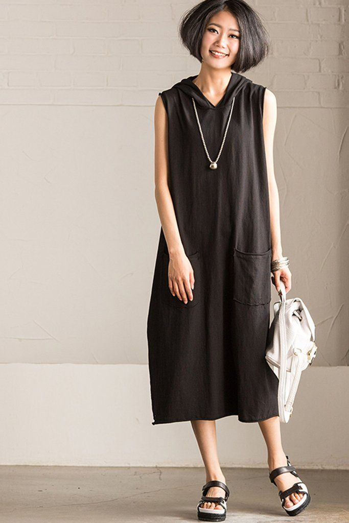 Korean Style Sleeveless hooded Fleece Long Dress 2016 Summer Q8033A