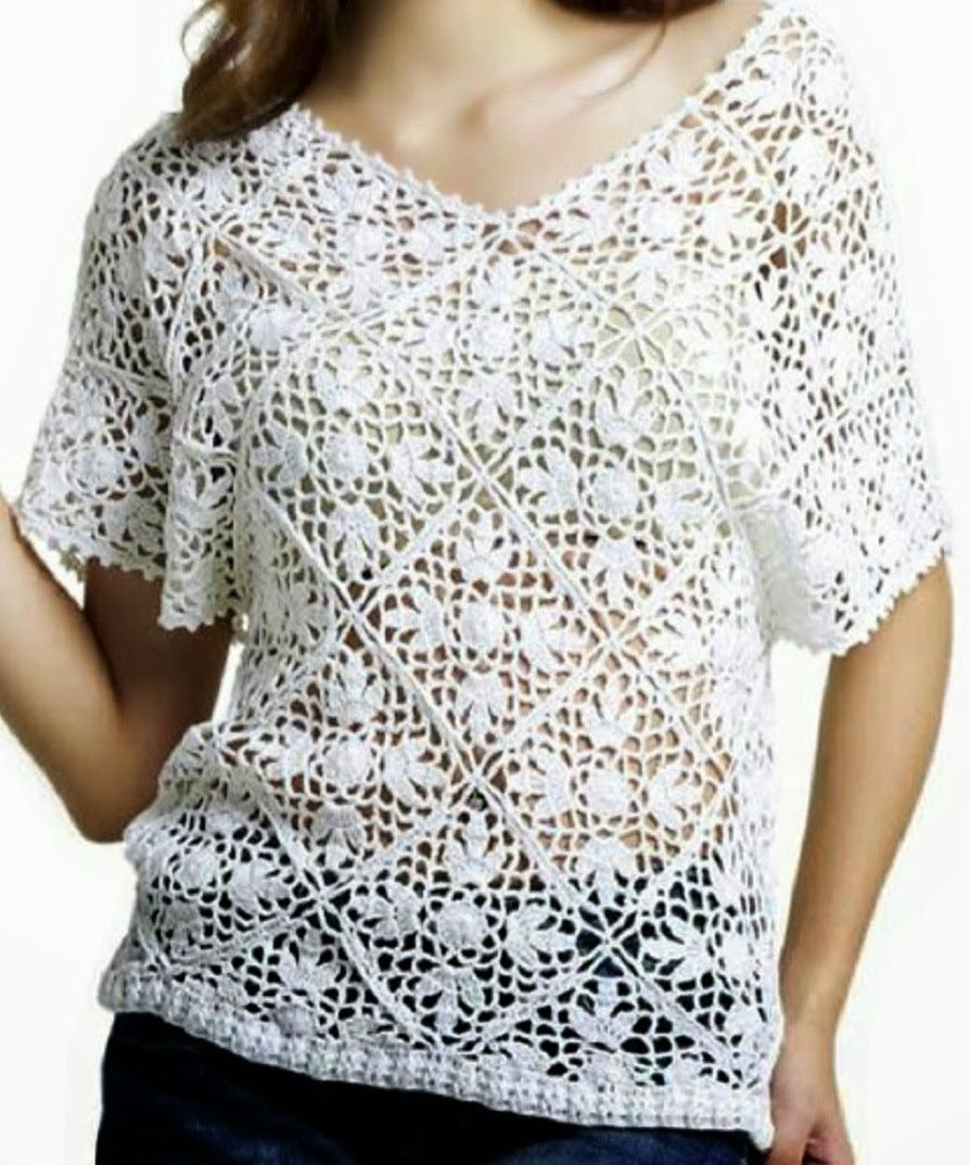 Blusa Blanca Rombos Cuello V a Crochet | video crochet | Pinterest ...