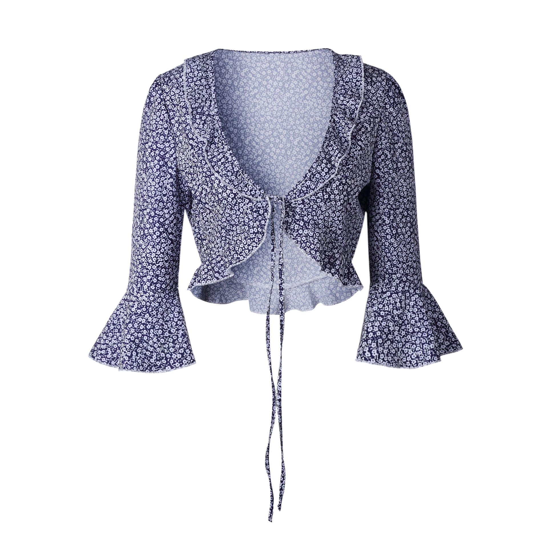 a771c00f4f Boho womens tops and blouses Vintage white dot floral printed chiffon blouse  shirt Sexy crop top ruffles kimono cardigan 2018-in Blouses   Shirts from  ...