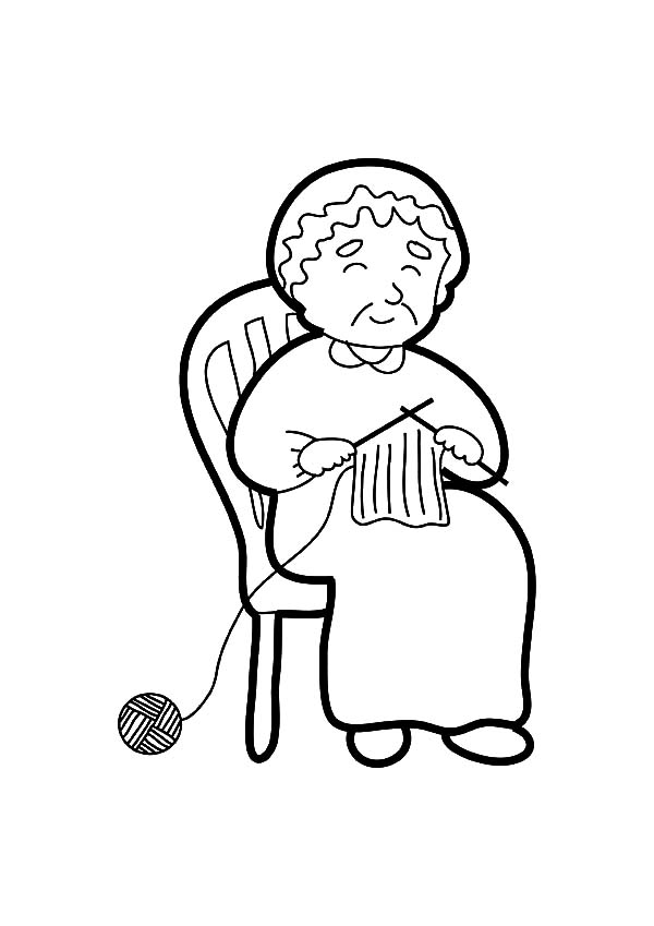 Grandmother Knitting Coloring Pages : Color Luna