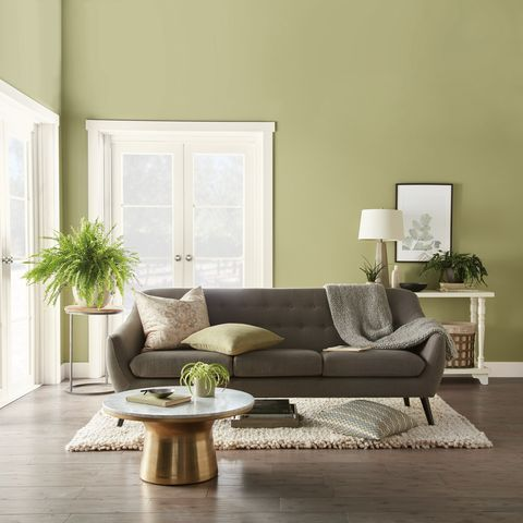 See this living room wall paint color idea: Back to Nature b Behr looks beautiful with wood floors, white trim, gray sofa, beige rug and gold and marble coffee table. #paint #color #ideas #marble #gold #coffeetable #livingroom #sofa #plants #rug