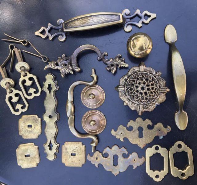 Lot Of Antique/Vintage High End Brass Furniture Hardware Pulls Key Plates U0026  More | EBay
