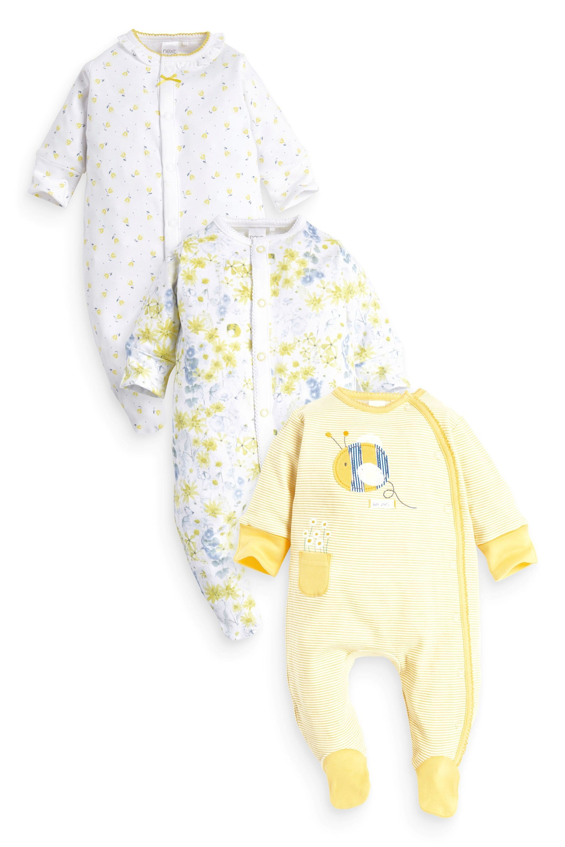Buy Three Pack Yellow Bee And Pretty Floral Sleepsuits 0mths 2yrs
