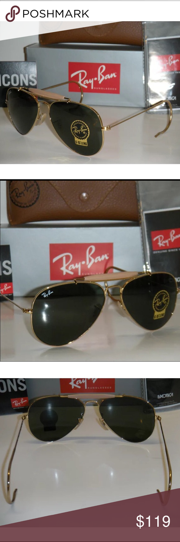 Ray Ban Aviator Outdoorsman Sunglasses 58mm Description Ray Ban Aviator Outdoorsman Sunglasses.   Model: RB3030 L0216 Frame Color: Arista (Gold) Lens Color: G-15 GreenSize: 58mm ( Medium )  Glass: flash G-15 100% UV Protection  Made in Italy  Item is brand new never worn.   Actual pictures of sunglasses.   THIS ITEM INCLUDES:    Original Ray Ban box, case ,microfiber cleaning cloth & booklets Ray-Ban Accessories Glasses