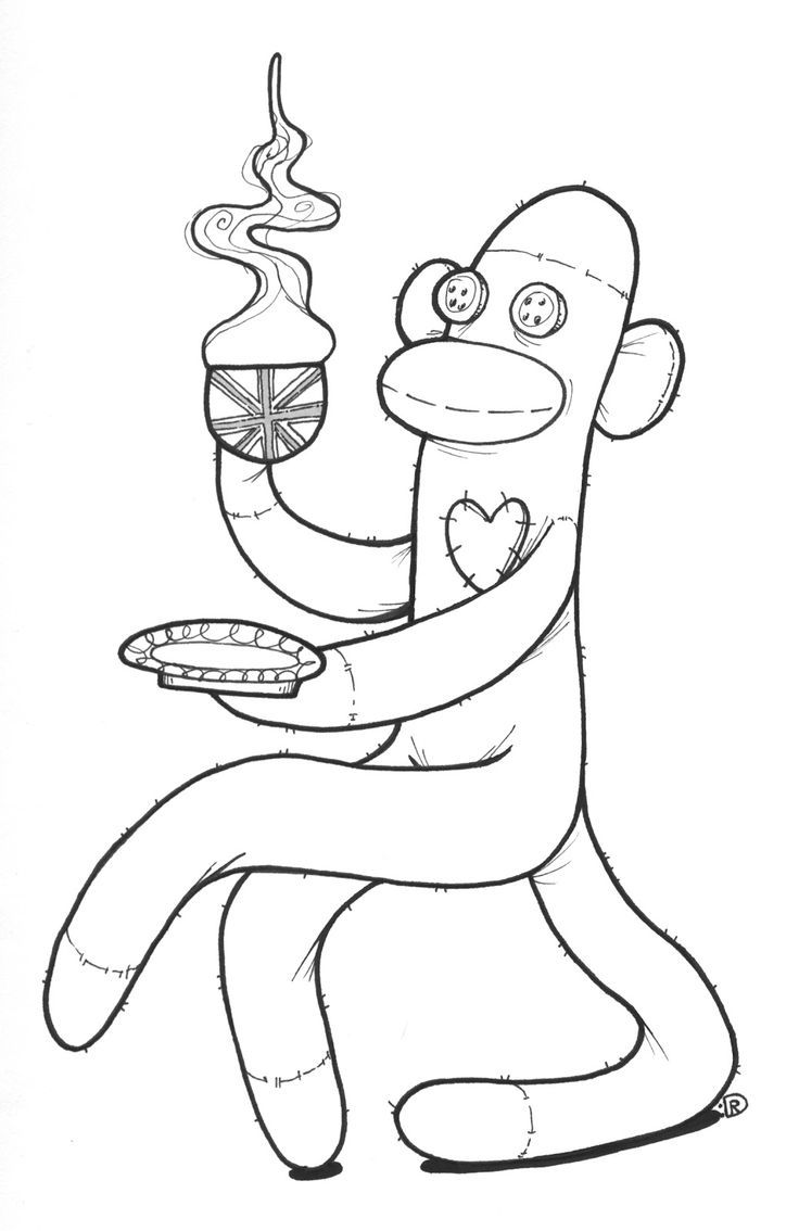 sock monkey coloring pages printable | Sock monkey ... | for my ...